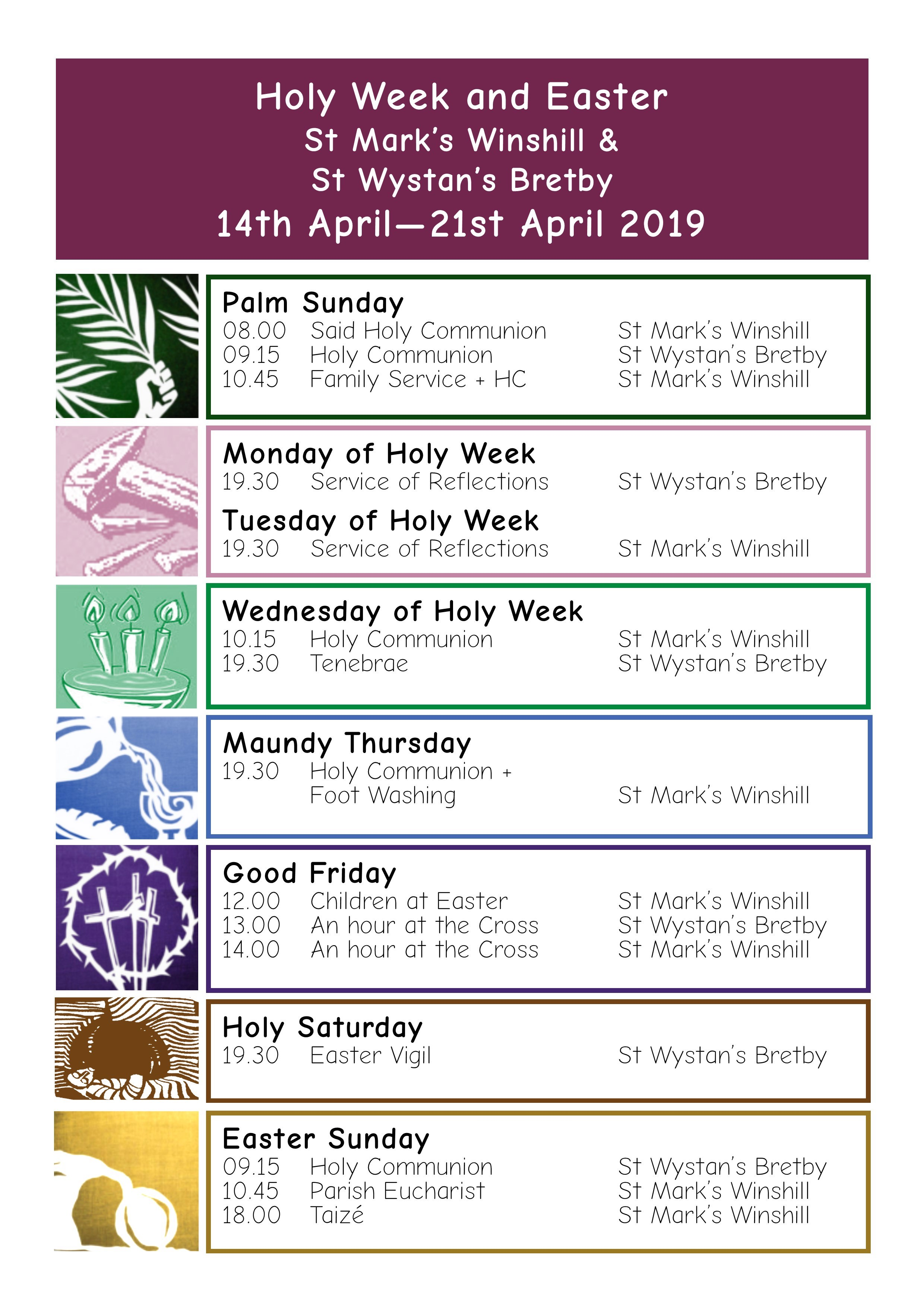 Holyweek and Easter Timetable 2019 A4 Poster