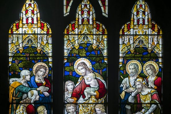 Jesus welcomes children Presentation of Jesus in the Temple - Stained glass window at St Mark's Church