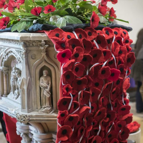 Poppy arrangement on Remembrance Sunday at St Mark's Church