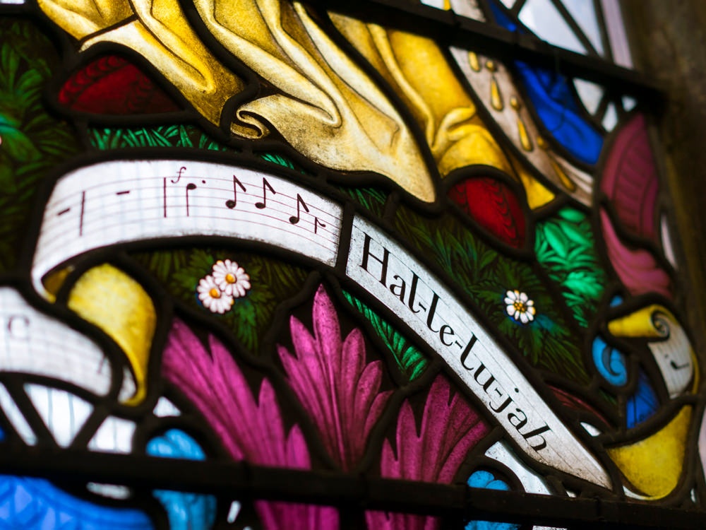 Stained glass - Hallelujah. St Mark's Church
