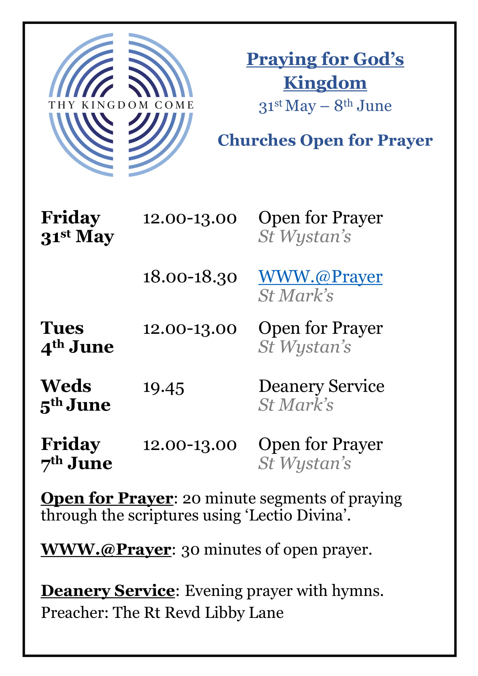 Churches Open for Prayer June 2019